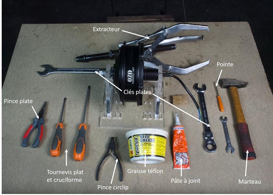 Outils utilisé pour le démontage et l'entretien du moteur roue