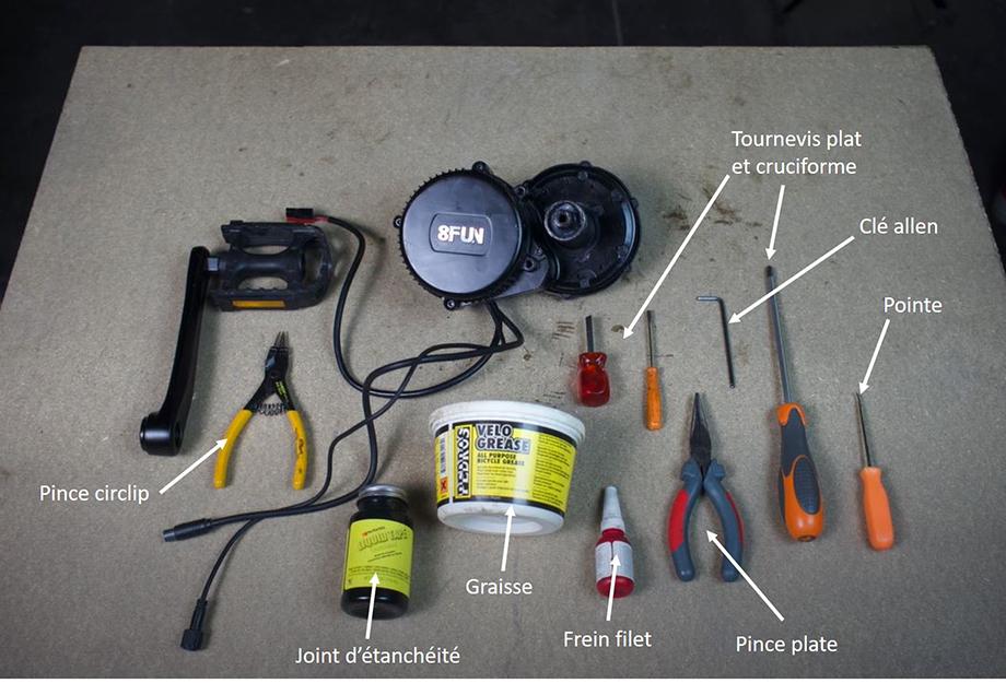 Rassembler les bons outils pour le démontage et l'entretien du moteur pédalier pou vélo électrique