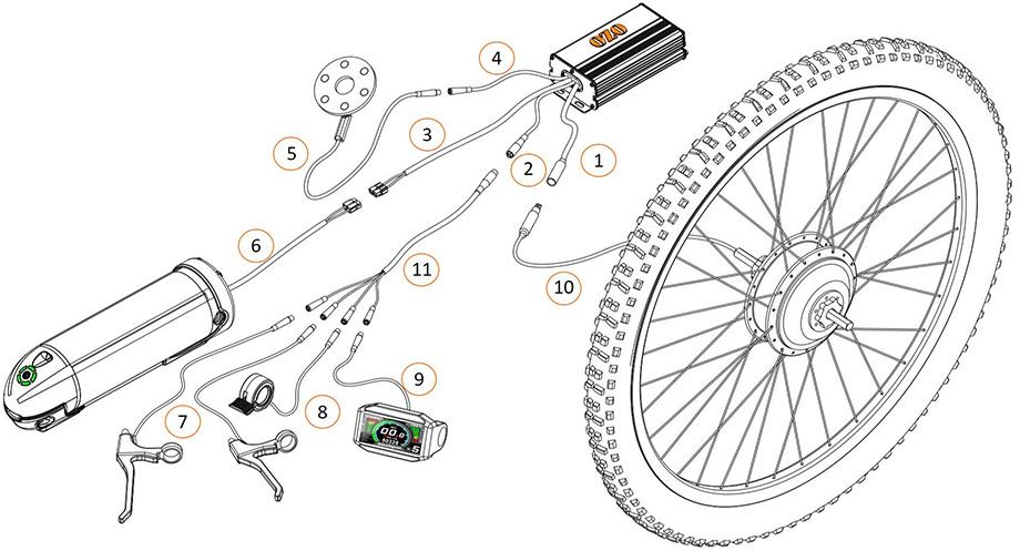 Schéma de câblage du kit moteur roue pour vélo électrique : vue 1