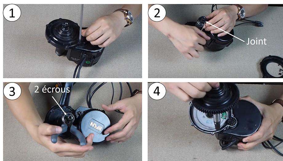 Démontage dde l'axe pédalier et sa couronne, moteur pédalier pour vélo électrique