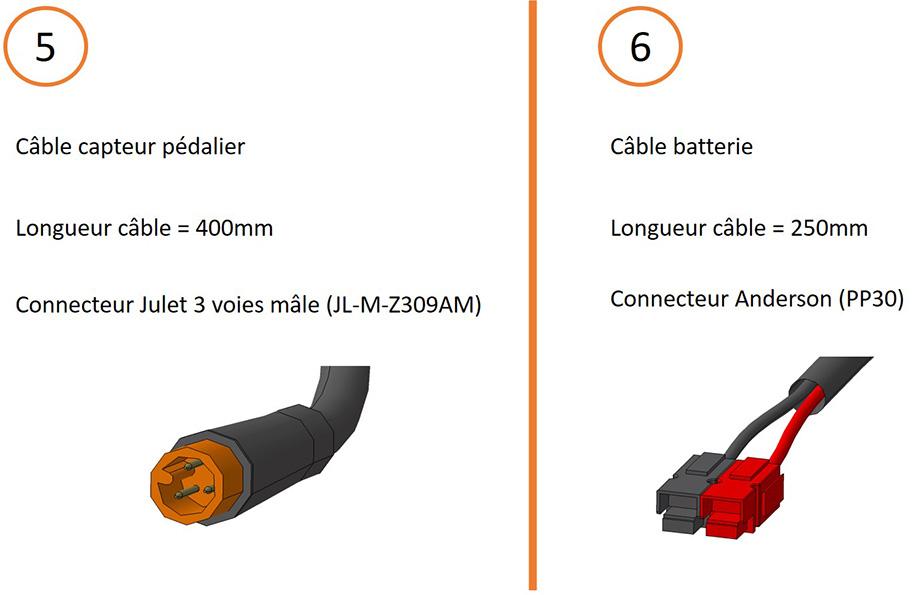 Câble capteur pédalier et câble batterie + connecteurs pour câblage contrôleur 15V