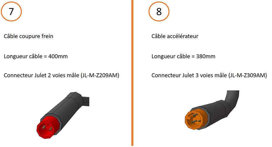 Câble coupure frein et câble accélérateur + connecteurs pour câblage contrôleur 15V