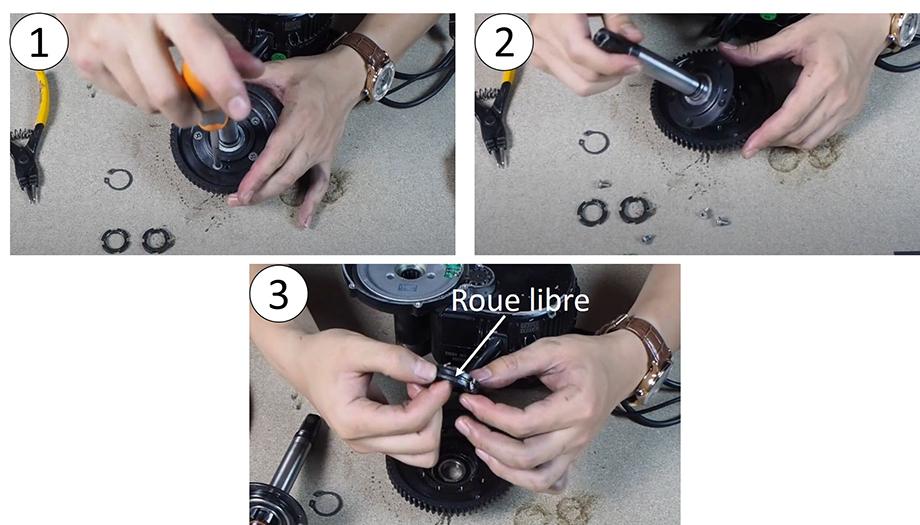 Démontage du support du roulement pour accéder à la roue, moteur pédalier pour vélo électrique