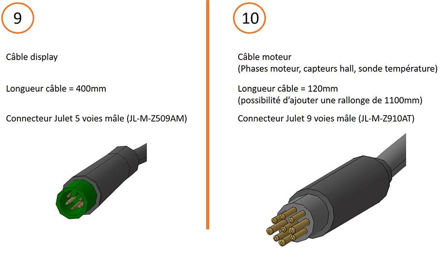 Câble display et câble moteur + connecteurs pour câblage contrôleur 15V