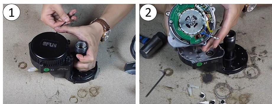 Démontage du stator et rotor, moteur pédalier pour vélo électrique