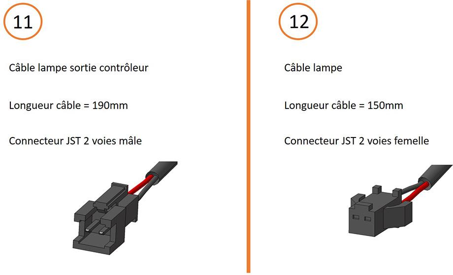 Câble lampe normal et câble lampe sortie contrôleur + connecteurs pour câblage contrôleur 15V