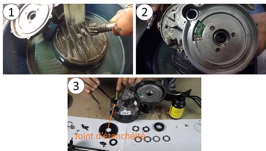 Nettoyage et remontage du moteur pédalier pour vélo électrique