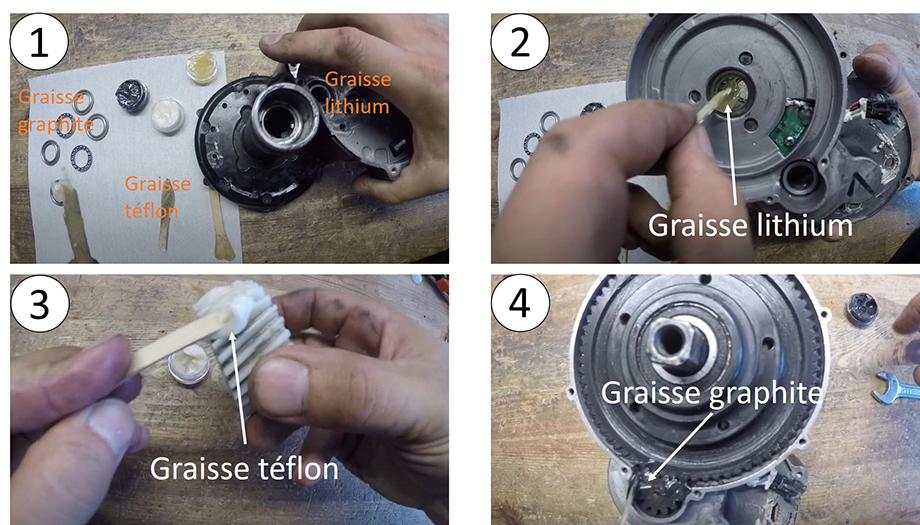 Vérification et graissante des différents composants du moteur pédalier pour vélo électrique