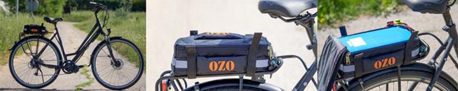 Sacoche porte bagages petit et grand modèle pour batterie attachée à un vélo