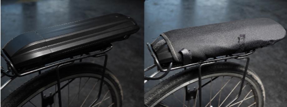 Housse de protection de batterie sur porte-bagage de vélo électrique