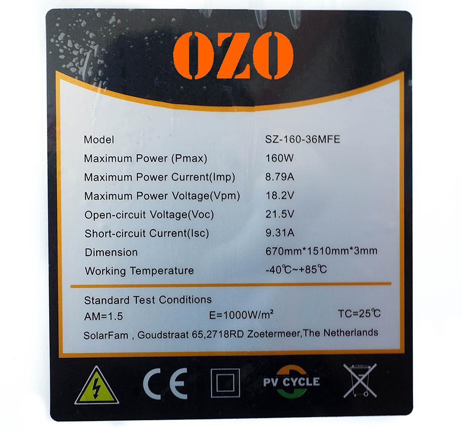 Etiquette panneau solaire OZO