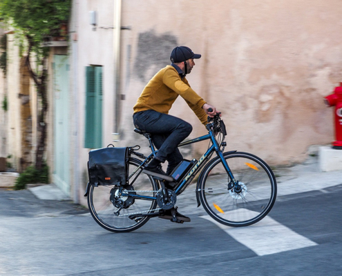 Vélo ville KONA électrique, moteur roue arrière, batterie cadre
